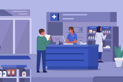 animated person buying in a pharmacy